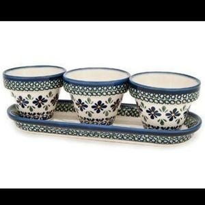 Polish Pottery Flower Pots with Tray